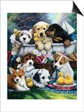 Bath Time Pups Prints by Jenny Newland