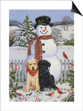 Backyard Snowman with Friends Prints by William Vanderdasson