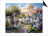 Main Street Along a Country Village Posters by Nicky Boehme
