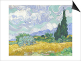 Van Gogh, Wheatfield with Cypress Prints