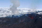 Erupting Eyjafjallajokull Volcano and Newly-Built Cinder Cone, Southern Iceland Photographic Print by Natalie Tepper