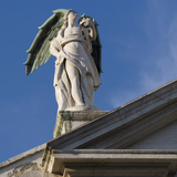 Scuola Grande Di San Fantin, Venice - Statue of Angel with Wings Above Pediment (Detail) Photographic Print by Mike Burton