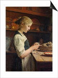 The Little Potato Peeler, 1886 Print by Albert Anker