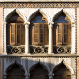 Venice - Architectural Detail of Ogee Windows with Shutters and Balconies Photographic Print by Mike Burton