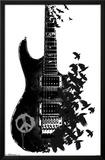 Guitarra con cornejas Póster
