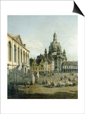 The Neumarkt in Dresden Seen from the Juedenhofe (Detail), 1749 Print by  Canaletto