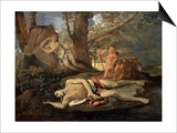 Narcissus and Echo Print by Nicolas Poussin
