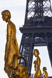 Statues of the Palais De Chaillot with the Eiffel Tower in the Background, Paris, France Photographic Print by Julian Castle