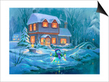 Snowy Bright Night Print by Michael R. Humphries