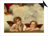 Putti, Detail from the Sistine Madonna Art by  Raffael