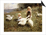 Feeding Geese, 1890 Prints by Alexander Koester