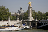 Boats on River Seine, Alexandre Iii Bridge with Pillar Topped by Gilded Statue, Grand Palais Photographic Print by Sigrid Schutze-Rodemann