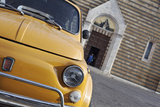 Classic Fiat 500 Car Parked Outside Church, Montepulciano, Tuscany, Italy Photographic Print by Julian Castle