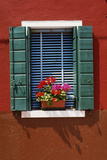 Window with Blue Venetian Blinds and Green Shutters Against Red-Brown Wall. - Burano, Venice Photographic Print by Robert ODea