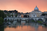 Ponte Sant'Angelo and St. Peter's Basilica at Sunset, Vatican City, Rome Photographic Print by David Clapp