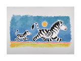 Mother and Baby Zebras Walking on a Sunny Day Print by Susie Jenkin Pearce