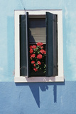 Windowwith Venetian Blinds and Shutters on Blue Wall. - Burano, Venice Photographic Print by Robert ODea