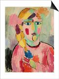 Girl with Blue Eyes and a Plait (Maedchen Mit Blauen Augen Und Einem Zopf), C. 1916 Prints by Alexej Von Jawlensky