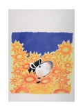 Happy Baby Zebra in the Sunflowers Print by Susie Jenkin Pearce