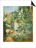 A Child in the Hollyhocks, 1881 Posters par Camille Pissarro