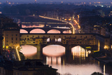 Ponte Vecchio and the River Arno at Dusk, Florence, Italy Photographic Print by David Clapp