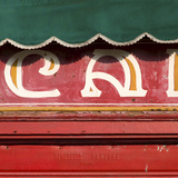Venice Sign Language, Detail of Green Awning Outside Cafe Photographic Print by Mike Burton