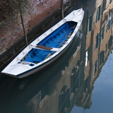Venice Sense of Place. Blue and White Boat on Canal Photographic Print by Mike Burton