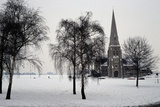 All Saints Church, Blackheath, London, 1867. Exterior with Winter Trees in the Snow Fotografisk tryk af Nina Langton