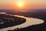 Aerial View of the Zambezi River, Tilt Shift Effect Fotografisk tryk af Eric Schmiedl