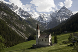 Village Church, Ortler Mountain in Background, Stilf, South Tyrol, Italy Photographic Print by Sigrid Schutze-Rodemann