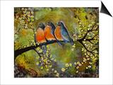 Robin Family Print by Blenda Tyvoll