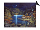 Moonlit Cabin Prints by John Zaccheo