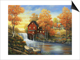 Autumn Sunset at the Old Mill Posters by John Zaccheo