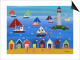 Boats in Lighthouse Bay Prints by Gordon Barker