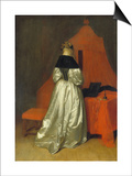 Lady in a Golden Dress in Front of a Bed with Red Curtains, C. 1655 Poster by Gerard ter Borch
