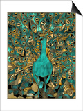 Gold Teal Peacock Posters by Mindy Sommers