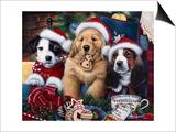Sawry Santa Paws Posters by Jenny Newland