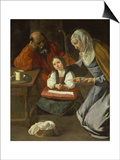 Mary as Child with St. Joachim and St. Anne Posters by Francisco Zurbaran y Salazar