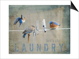 Laundry Day Bluebirds Prints by Jai Johnson