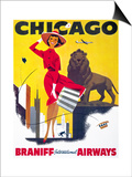 Chicago, Braniff International Airways Prints