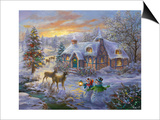 Christmas Cottage Kunstdrucke von Nicky Boehme