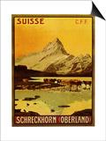 Schreckhorn Oberland Swiss 1906 Posters