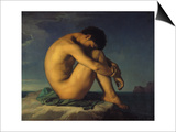 Naked Young Man Sitting by the Sea, 1855 Posters by Hippolyte Flandrin