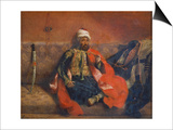 A Turk Smoking Sitting on a Sofa, C. 1840 Affiches par Eugène Delacroix