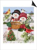 Snow Couple Feeding Birds Prints by William Vanderdasson
