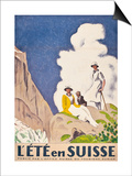 L'Ete En Suisse, Poster by the Swiss Office of Tourism, 1921 Posters av Emil Cardinaux