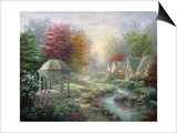 Gazebo Village Print by Nicky Boehme