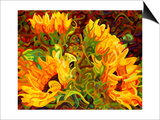 Four Sunflowers Print by Mandy Budan