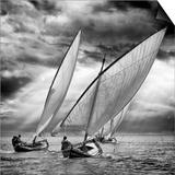Sailboats and Light Print by Angel Villalba
