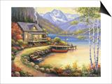 Fishing at the Lake Poster by John Zaccheo